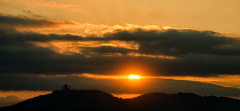 Turin (Torino) sunset over Basilica of Superga Royalty Free Stock Images
