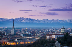 Turin (Torino), twilight panorama Royalty Free Stock Images