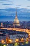 Turin (Torino), vågbrytare Antonelliana och piazza Vittorio Royaltyfria Bilder