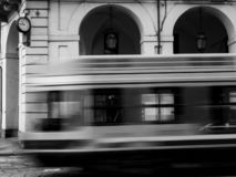Turin tram in motion royalty free stock photo