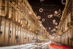 Turin vid natt, Italien Royaltyfri Foto