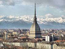 Turin view. City of Turin (Torino) skyline panorama seen from the hill - high dynamic range HDR royalty free stock images