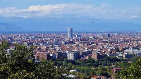 Turin, view from the hill. View of Turin and the southern suburbs with the background of the mountains Royalty Free Stock Photo
