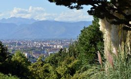 Turin, view from the hill. View of Turin and the southern suburbs with the background of the mountains Stock Images