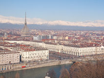 Turin view. Turin skyline panorama seen from the hills surrounding the city stock image