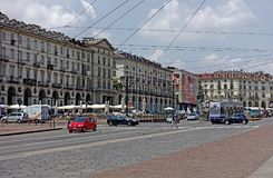 Turin Vittorio Veneto square. Turin Piedmint Italy Piazza Vittorio Veneto simply called Piazza Vittorio from Turin is the largest square in the city of Savoy Royalty Free Stock Photo