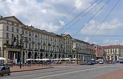 Turin Vittorio Veneto square. Turin Piedmint Italy Piazza Vittorio Veneto simply called Piazza Vittorio from Turin is the largest square in the city of Savoy Royalty Free Stock Photos