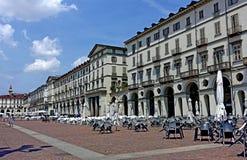 Turin Vittorio Veneto square. Turin Piedmint Italy Piazza Vittorio Veneto simply called Piazza Vittorio from Turin is the largest square in the city of Savoy Stock Photography