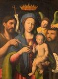 Turina -玛丹娜绘画和圣约翰浸礼会教友和天使加百利在教会基耶萨di圣多梅尼科里 库存照片