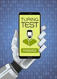 The Turing Test Has Been Successfully Passed By Robot. Mechanical hand of a robot holding smartphone showing test result. Vector illustration on the subject of ` Stock Photo