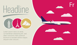 Turism affisch för loppbyrå Flygplan i den purpurfärgade himlen Royaltyfri Foto
