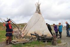 Turism i Lapland Arkivfoto