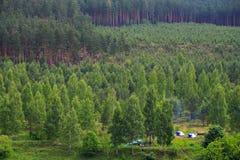Turism i skogen, tält, flod, folk n Arkivbilder