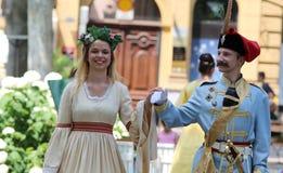 Turism i Zagreb/den förbudJelacic imitatören och fen Royaltyfria Bilder