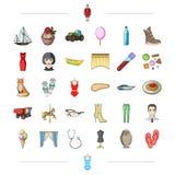Turism, medicin, loppet och annan rengöringsduksymbol i tecknad film utformar uggla kläder, textilsymboler i uppsättningsamling stock illustrationer