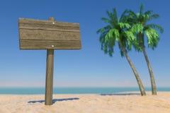 Turism- och loppbegrepp Tom träriktning Signbard i den tropiska Paradise stranden med vita sand- och kokosnötpalmträd 3d arkivfoto
