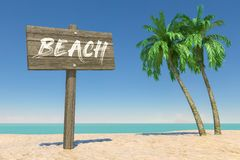Turism- och loppbegrepp Träriktningen Signbard med stranden undertecknar i den tropiska Paradise stranden med vit sand, och kokos royaltyfri fotografi