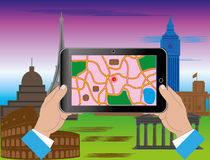 Turism till och med internet stock illustrationer