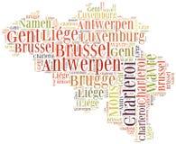 Turismbegrepp av landet Belgien och storstäder royaltyfri illustrationer