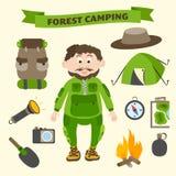 Turismbeståndsdelar för campa och för utomhus- aktivitet vektor illustrationer