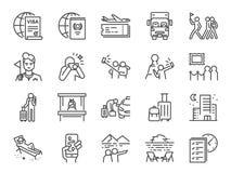 Turismlinje symbolsuppsättning Bland annat symboler som turisten, handbok, handelsresande, semester och mer vektor illustrationer