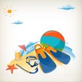 Turismo. Día de fiesta en la playa. Imagen de archivo libre de regalías
