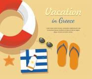 Turismo de Grecia Los balanceos en enarenan con la toalla, los vidrios de sol y otros stock de ilustración