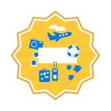 Turismo de la etiqueta, etiqueta engomada amarilla redonda del verano Ilustraci?n del vector ilustración del vector