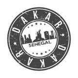 Turismo del viaje del vector del sello del diseño del horizonte de la ciudad del botón de Dakar Senegal África alrededor stock de ilustración