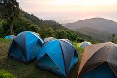 Turismo di campeggio di avventure e tenda, paesaggio della foresta di vista, fuori fotografia stock libera da diritti