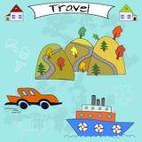 Turismo di estate Insieme di viaggio di Colorfull Immagine Stock