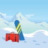 Turismo di inverno Snowboard nelle montagne Fondo di vettore per la vostra progettazione Fotografia Stock