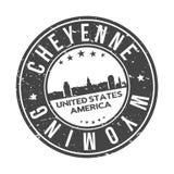 Turismo di viaggio di vettore del bollo di progettazione dell'orizzonte della città del bottone del giro di Cheyenne Wyoming U.S. illustrazione di stock