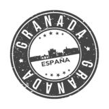 Turismo di viaggio di vettore del bollo di progettazione dell'orizzonte della città del bottone di Granada Andalusia Spagna in to illustrazione di stock