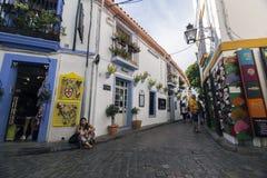 Turismo en la calle de Romero, cuarto judío en Córdoba, Córdoba Imagen de archivo