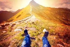 Turismo en montañas Fotografía de archivo libre de regalías