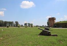 Turismo en Osijek, los armas de Croacia/del imperio otomano y torre Foto de archivo libre de regalías