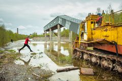 Turismo industrial en Ruskeala, Karelia Rusia Imagen de archivo libre de regalías