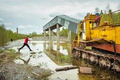 Turismo industriale in Ruskeala, Carelia La Russia immagine stock libera da diritti