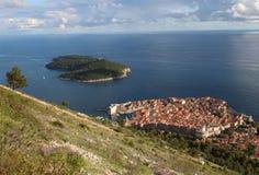 Turismo na Croácia/ilha de Dubrovnik e de Lokrum Fotografia de Stock Royalty Free