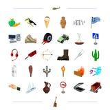 Turismo, tecnologia, natureza e o outro ícone da Web no estilo dos desenhos animados China, medicina, ícones do negócio na coleçã Imagem de Stock