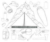 Turismo y sistema que acampa Fotografía de archivo libre de regalías