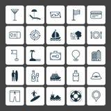 Turismsymbolsuppsättning Samling av yacht, säkerhetsbagage, Bränning-bräde och andra beståndsdelar Inkluderar också symboler liks royaltyfri illustrationer