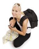 turist- blonda gps Arkivfoton