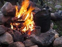 Turist- brand med en kokkärl och en råna Royaltyfri Bild