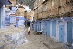 turist- byar av Marocko, Chefchaouen Royaltyfri Fotografi