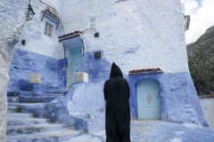 turist- byar av Marocko, Chefchaouen Royaltyfri Bild