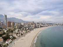 Turist City Skyline. Skyline of a tourist city by the sea, with the buildings very close to the beach Stock Photography