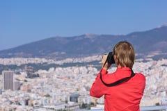 Turist- danandefoto av Aten, Grekland Arkivfoto