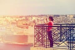 Turist- danandefoto av Valletta, Malta, loppbegrepp Royaltyfria Foton